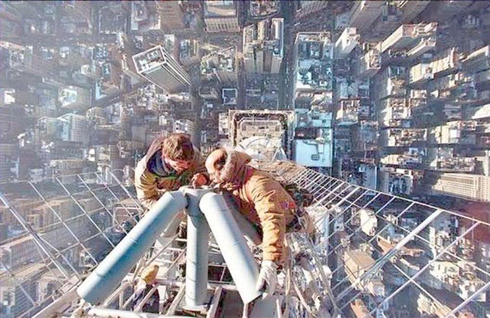 Antenne repareren op 449 meter hoog Empire States Building.jpg